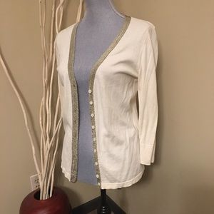 2/$20 The Limited cream cardigan with gold trim M